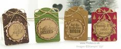 "Quick Note Tag Punch Under the Tree Tags: 1"" circle punch and 1 1/"" scallop circle punch linen thread bow"