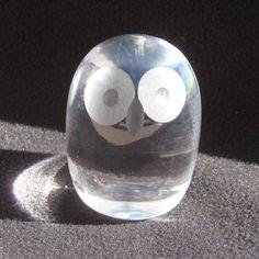 Hadeland Norway Pasco Design Art Glass Wide Eyed Owl Paperweight Vintage | eBay