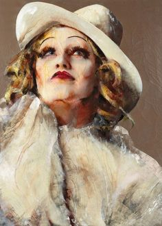 MARLENE DIETRICH, Lita Cabellut (b1961, born a gipsy girl in the streets of El Raval in Barcelona, Cabellut was adopted at the age of 13)...