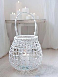 This lovely white willow hurricane lamp has excellent Scandi credentials: natural materials, unfussy styling and a pure white colour scheme. Indoor Candle Lanterns, Large Lanterns, Diy Eid Gifts, Home Accessories Uk, Diwali Diy, Paper Weaving, Home Room Design, White Candles, Basket Weaving