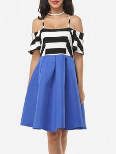 Patchwork Striped Falbala Brilliant One Shoulder Spaghetti Strap Skater-dress