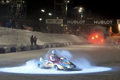 Alonso performs with an an ice kart during the Wrooom