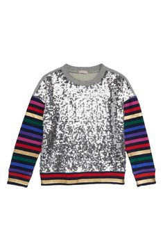 Unicorn Hearts Rainbow Pattern Print Toddler Childrens Crew Neck Sweater Long Sleeve Warm Knitted Top Blouse