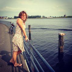 Haarlem, 14 juli 2013, met Jacq op de fiets langs het Spaarne