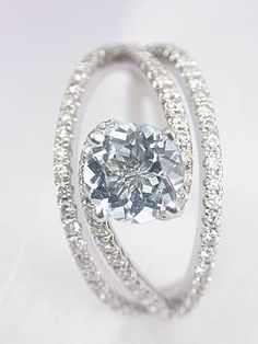 Trendy Diamond Rings :    This would be a good setting for my new Topaz from Afghanistan with a little change to the way the stone is set…