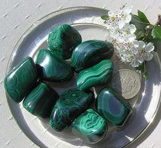 4 Large Malachite Crystal Tumblestones by SunnyCrystals on Etsy, $11.25