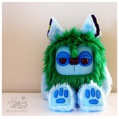 $65 Yeticub Plush Green and blue by Wickandbandit on Handmade Australia