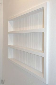 DIY Built-in-the-Wall Shelving - Reclaim hidden storage space in your home — A. DIY Built-in-the-Wall Shelving - Reclaim hidden storage space in your home — AZ DIY Guy Built In Shelves, Display Shelves, Built Ins, Floating Shelves, Wood Shelves, Recessed Shelves, Wall Storage Shelves, Corner Shelves, Space Saving Storage