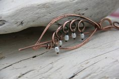 "Shawl pin, scarf pin, hair slide, hair barrette, brooch  ""Lily of Valley"" 2 in 1 copper wire wrap accessories"