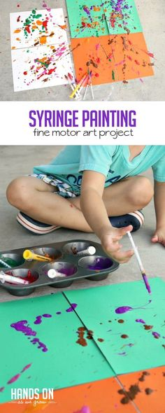 What a fun, active way to make art -- syringe painting! Preschool Art Projects, Preschool Art Activities, Toddler Art Projects, Painting Activities, Toddler Preschool, Toddler Crafts, Preschool Activities, Projects For Kids, Crafts For Kids