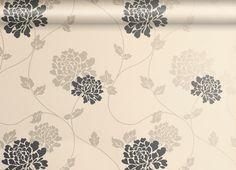 Isodore Charcoal/Linen Floral Wallpaper