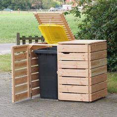Shed Plans - Storage to Keep Your Garbage Undercover Now You Can Build ANY Shed . Shed Plans - Storage to Keep Your Garbage Undercover Now You Can Build ANY Shed In A Weekend Even If You've Zero Woodworking Experience! Garbage Can Storage, Garbage Shed, Trash Can Storage Outdoor, Outdoor Storage Sheds, Woodworking Projects Diy, Diy Projects, Project Ideas, Teds Woodworking, Garden Projects