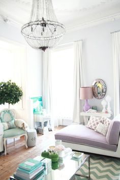 Gray Purple Turquoise Pastel Lavender Living Room Design