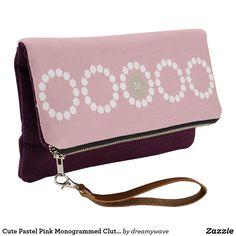 Cute Pastel Pink Monogrammed Clutch