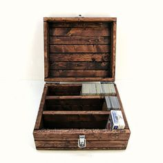 Trading Card Game Box with Sections - Divided Playing Card Case - Collector's Card Storage Chest with Latch - Rustic Wooden Geek Gift Box
