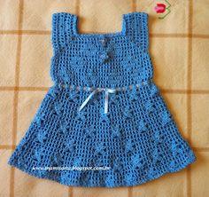 Crochet et Tricot da Mamis: Vestido Infantil Em Ponto Filé e Flores- Receita