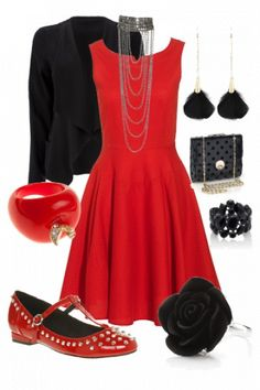 #outfits #style #red  <<<=== love this all but would want black or red or black with red heels