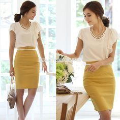 Hot Women's Retro Casual Waist Bag Hip Knee Length Office Lady Pencil Skirt Love the top too Skirt Outfits Modest, Pencil Skirt Outfits, High Waisted Pencil Skirt, Black Pencil Skirts, Pencil Dress, Business Outfit, Business Casual Outfits, Outfit Chic, Différents Styles