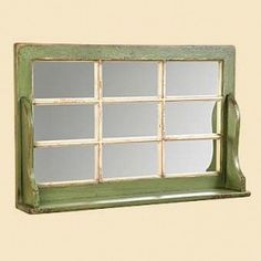 window mirror shelf - with a wider shelf and positioned over a chest of drawers could make a good  place to put on make up, especially if good light & an outlet for curling/flat iron were also there
