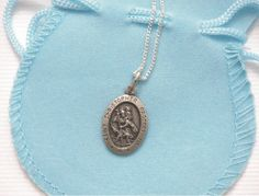 Boys First Holy Communion St Christopher Necklace - Religious and Traditional Pendant for Boy, Grandson, Nephew, Son, Godson
