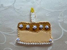 Cake shaped hand-decorated sugar cookie by CreativeChaosinCT, $48.00