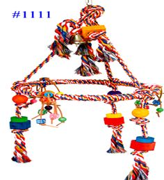 1111 Huge pyramid rope swing is a plethora of fun time activities for your medium to large size bird. A soft cotton colored rope ring. Macaw Cage, Colored Rope, Rope Swing, Budgies, Parrots, Pet Cage, Bird Cage, Parrot Toys, Bird Toys