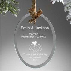 Engraved Oval Personalized Wedding Ornament Favors Doves Heart Design Volume Discount Low As