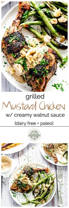 Grilled Mustard Chicken with Creamy (dairy free!) Walnut Sauce