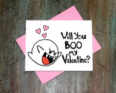 Pin for Later: Geeky Valentine's Day Cards That Show How Much You <3 Them  Super Mario fans, this will you boo my valentine card ($4) is just what you were looking for.