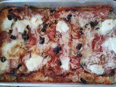Pizza de Bacon, Chourição e Cogumelos em forno de lenha