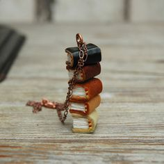 Book Necklace Fall Stacks 5 small books autumnal by PegandAwl, $160.00