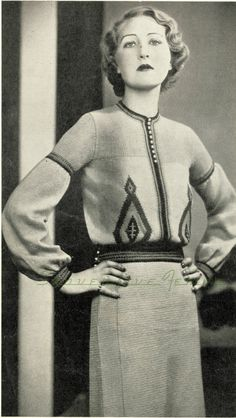 Outstanding 1930s russian style knitted blouse pattern - vintage knitting pattern PDF (331)