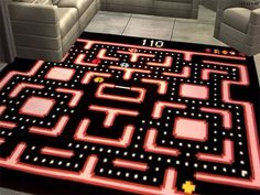 "5 Video Game Rugs To Dress Up Your Game Room - omg im putting shit like this in my ""woman cave"" Nerd Room, Nerd Cave, Gamer Room, My Room, Geek Man Cave, Room Ideias, Deco Gamer, Video Game Rooms, Deco Retro"