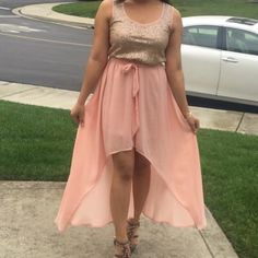 High-low dress Rose gold sequin top and flowy high low skirt. Dresses Prom