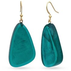 Kim Rogers  Gold-Tone Teal Resin Earrings (200 RUB) ❤ liked on Polyvore featuring jewelry, earrings, accessories, gold, kim rogers earrings, gold colored earrings, resin jewelry, teal blue earrings and teal earrings