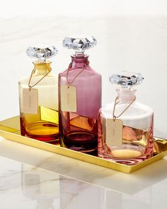 -66ZL Waterford  Rebel Blush Decanter Rebel Amber Decanter Rebel Plum Decanter