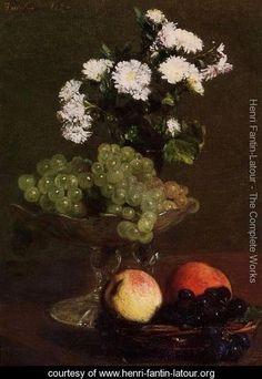 Still Life: Chrysanthemums and Grapes - Ignace Henri Jean Fantin-Latour - www.henri-fantin-latour.org