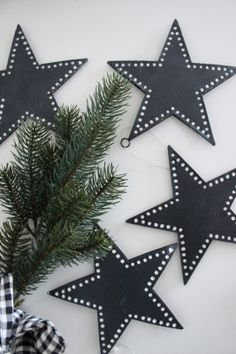 cut stars out of Bristol board, add white out dots, and hole punch to use as gift tags! Black Christmas Tree Decorations, Black Christmas Trees, Scandi Christmas, Christmas Colors, Christmas Themes, All Things Christmas, Christmas Holidays, Christmas Crafts, Xmas