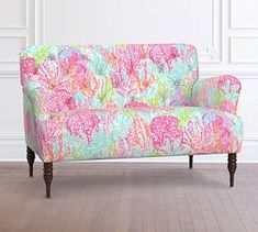 Pottery Barn Lilly Pulitzer Madison Upholstered Settee, Let's Cha Cha, Tiki Shorely Luxury Furniture Brands, Upholstered Arm Chair, Beach House Decor, Home Decor, Little Girl Rooms, Settee, Home Collections, Room Inspiration, Interior Inspiration