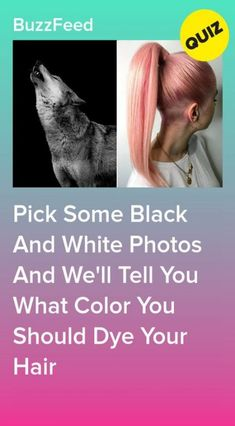 Pick Some Black And White Photos And We'll Tell You What Color You Should Dye Your Hair Platinum Blonde Hair Quizzes, Quizzes Funny, Quizzes For Fun, Random Quizzes, Black Hair Quiz, Pink And Black Hair, Black And White, Hair Color Generator, Disney Princess Facts