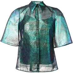 Delpozo iridescent lace shirt ($2,050) ❤ liked on Polyvore featuring tops, blue, lace top, lacy shirt, blue green tops, lacy tops and blue top