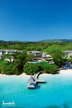 Aerial view over the stunning all inclusive Caribbean resort of Sandals Royal Plantation in Ocho Rios, Jamaica.