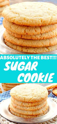 Absolutely The Best Sugar Cookie Recipe EVER! Absolutely The Best Sugar Cookie Recipe EVER! This recipe makes BIG, round, soft and chewy sugar cookies, just like bakery style cookies. Chewy Sugar Cookie Recipe, Cream Cheese Sugar Cookies, Soft Sugar Cookies, Fun Cookies, Summer Cookies, Cookie Favors, Baby Cookies, Heart Cookies, Valentine Cookies