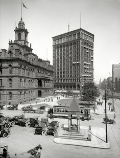 "The Motor City circa 1910. ""Detroit City Hall, Bagley Fountain and Majestic Building."""