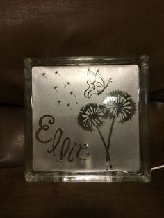 Personalized glass block night light by RusticSizzle on Etsy