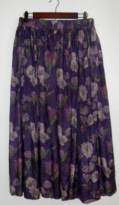 Vintage 80s Purple Floral Print Silk Midi by PinkCheetahVintage, $16.00