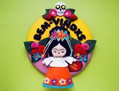 Guirlanda de feltro Frida Kahlo. Molde Noia Land.