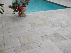 Ivory Travertine French Pattern Pool Pavers