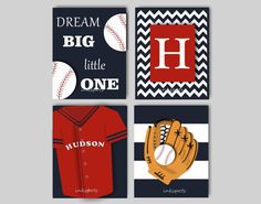 PLAY BALL! This one of a kind baseball print collection will be the perfect addition to your little guys baseball themed room. The collection