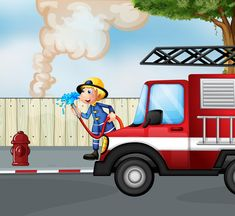 fireman rescuing a fire near the street Vector Image , Girl Reading Book, Kids Reading Books, Family Vector, Kids Vector, Music For Kids, Kids Songs, Fireman Nursery, New York City Background, Cartoon Butterfly
